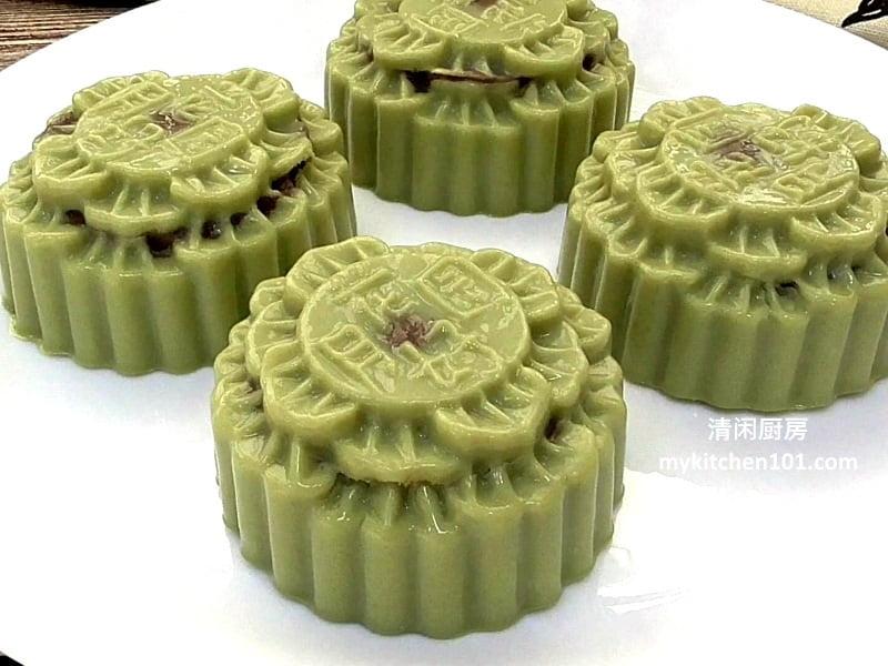 抹茶燕菜月饼红豆馅