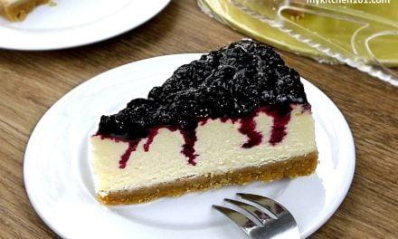 无蛋蓝莓烤芝士蛋糕 (自制蓝莓果酱)