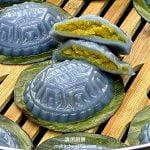 蓝花红龟糕 (低糖金瓜番薯馅)