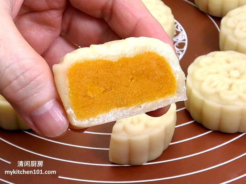 用金瓜和橙薯来做低糖馅冰皮月饼