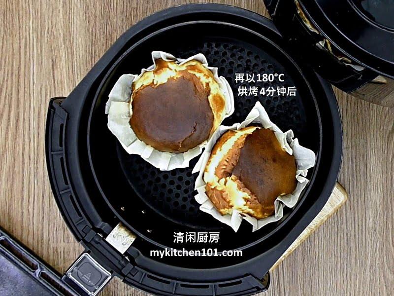 用空气炸锅版制作迷你烧焦芝士蛋糕