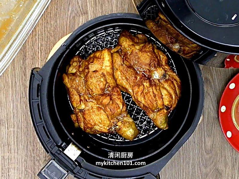 用空气炸烤咖喱鸡扒